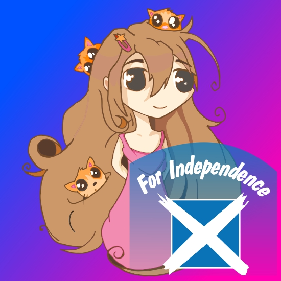 Cartoon Pink Girl with Cats (chibi) for  Independence drawing created on Corel Draw