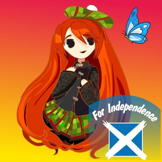Red Girl with tartan and Nessie (chibi) for  Independence drawing created on Corel Draw