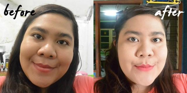 Before - After menggunakan Marina Two Way Cake