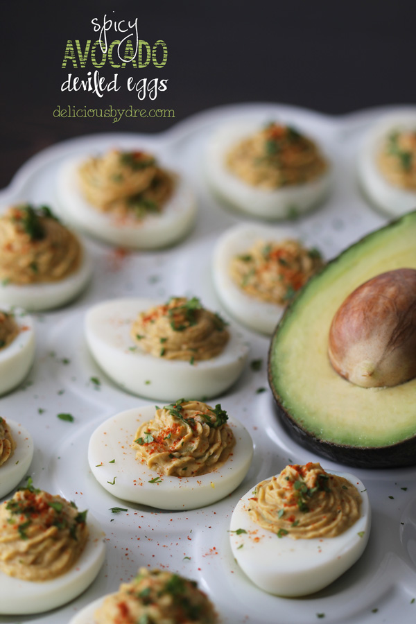 healthy spicy avocado deviled eggs