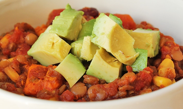 Slow Cooker Lentil Sweet Potato Chili