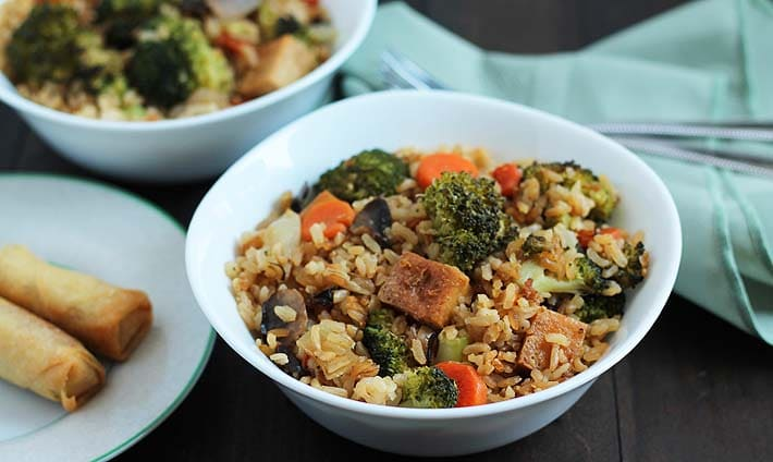 Vegetable Fried Rice with Crispy Ginger Garlic Tofu