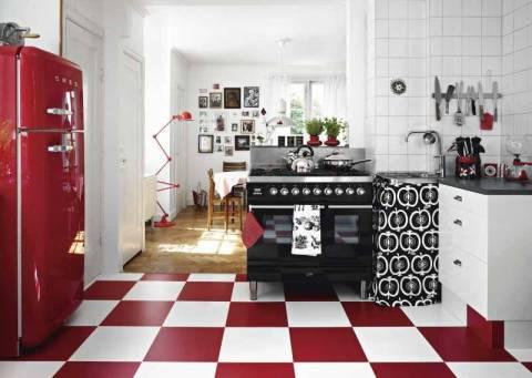rojo retro moderno gris estilo nórdico diseño escandinavo Diseño de interiores Decoración de interiores cocinas blanco
