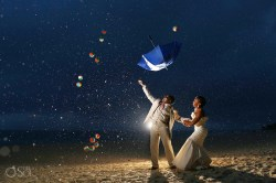 Genuine Bride Andgroom Throwing Umbrella Rain On Your Wedding Day Is Rain On Your Wedding Day Meme Dasinforain On Wedding Day Rain At Hotel Destination Beach Wedding Photo