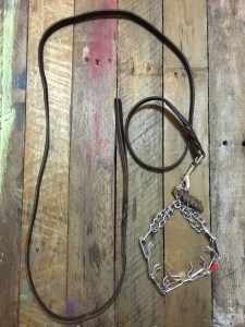 6ft leather lead and prong collar