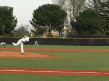 Freshman Nick Frank of Delta pitches a fastball to a Modesto Junior College opponent at Nick Cecchetti Field on March 9.