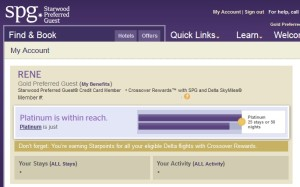 my spg home page showing crossover rewards perks delta points blog