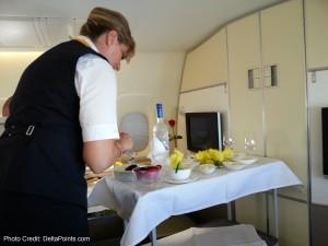 Caviar service Lufthansa 1st class  747-8 Delta Points blog (1)