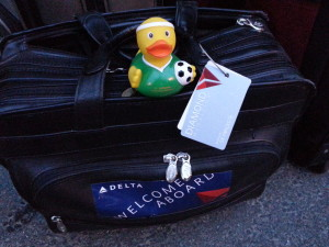 lufthansa duck ready to fly intra europe business class to MUC delta points blog