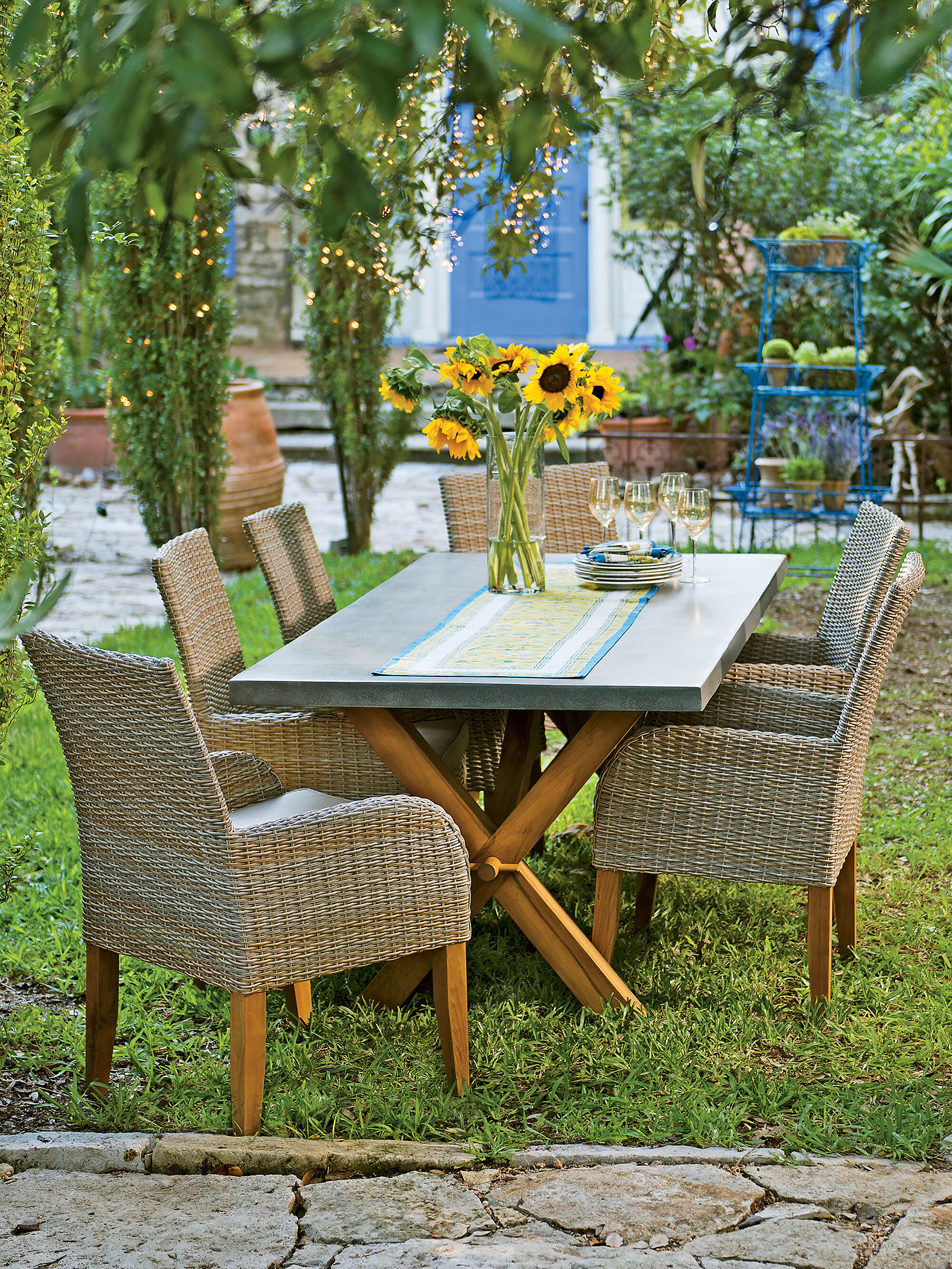 8592498 001E rustic farmhouse dining table teak trestle table and resin wicker chairs