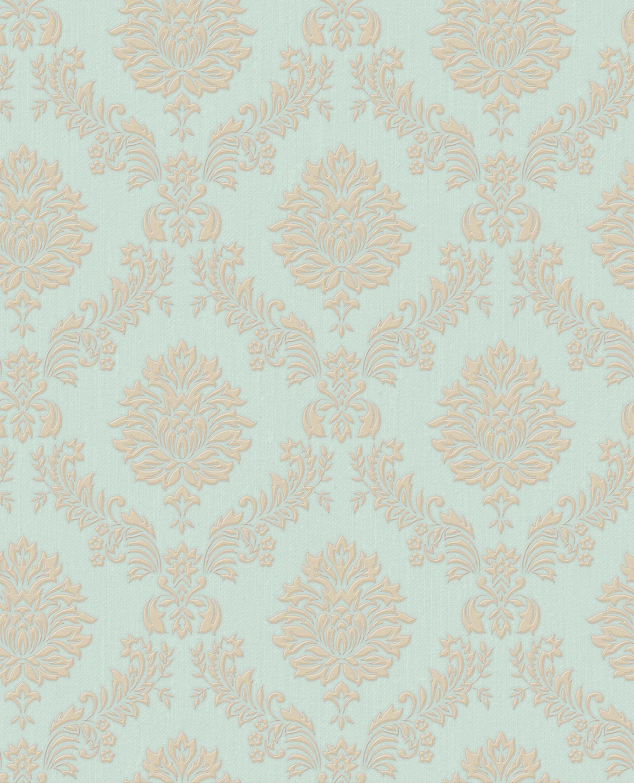Jacquard Gold and Teal Wallpaper - GrahamBrownUS