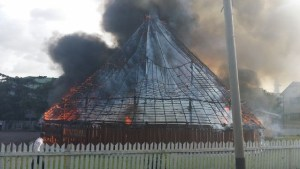 The Umana Yana being engulfed in flames in September, 2014.