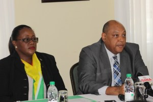 Junior Minister of Natural Resources, Simona Broomes and Senior Minister of Natural Resources, Raphael Trotman.