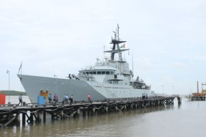 The United Kingdom Navy's vessel, HMS Mersey, docked at the Guyana Defence Force's Coast Guard headquarters, Ruimveldt.