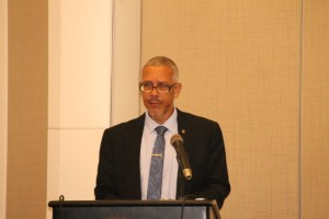 Minister of Business, Dominic Gaskin addressing the Private Sector Commission's Annual General Meeting.