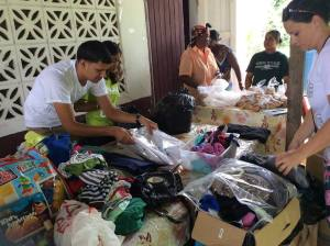 Soesdyke Drive - Volunteers of the Foundation setting up tables of donations for handing-over.