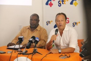 """Permanent Secretary of the Ministry of Public Telecommunications, Derrick Cummings (left) and GTT's  Commercial Officer, Gert Post at the launching of the company's """"Free Basic 4G Services"""""""