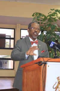 Vice Chancellor of the University of Guyana, Professor Ivelaw Griffith speaking at a news conference held at the institution's Education Lecture Theatre.