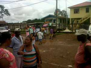 Port Kaituma residents vented their frustration outside the Neighbourhood Democratic Council's Office.