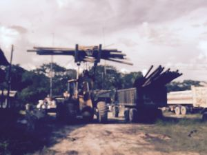 The GRA loading quantities of steel rods and pipes in a truck at Baishan Lin's operations at Coomacka, Upper Demerara River.
