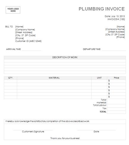 free plumbing invoice template