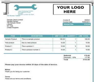 Plumbing Invoice Template 2