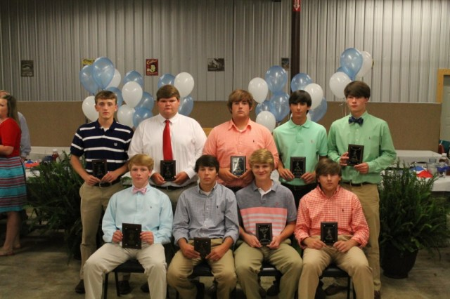 Baseball from left: seated - Cade Hall, Chance Maxey, Joseph Broom, Dillen Speck. Standing - Brady Cox, Collin Taylor, Chantz Hunnicutt, Matt Browning, Kelton Hall.