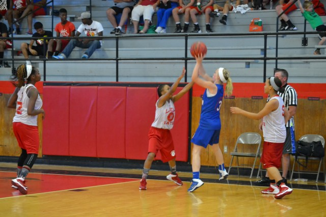 Maggie Smithey shoots a baseline jumper for Ingomar in their game against Independence on Monday. Photo by Dennis Clayton.
