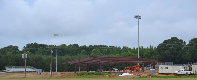 East Union's football field now has lights and bleachers while construction of the field house is making steady progress. Photo by Dennis Clayton.