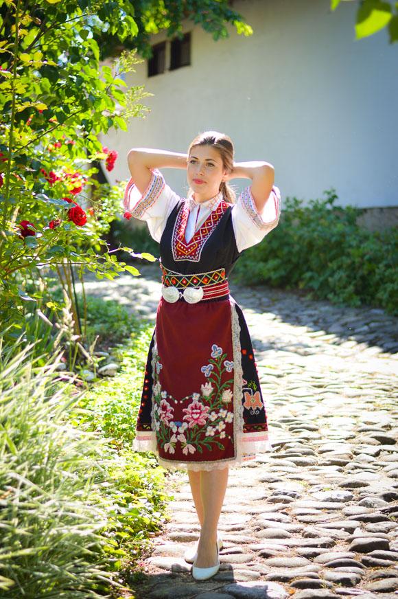 Bulgarian Girl Wearing Traditional Attire during Rose Festival in Kazanlak