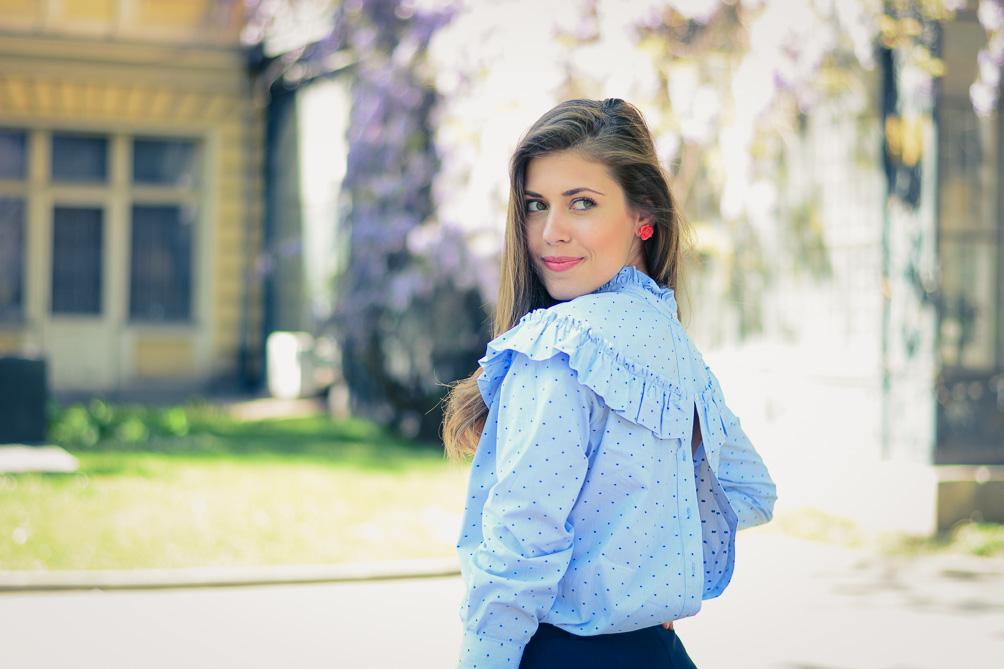Fashion blogger Denina Martin wearing Back-to-front shirt trend