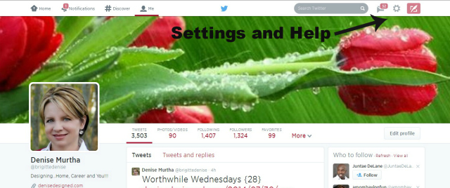 twitter page settings and help