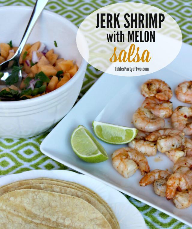 jerk shrimp with melon salsa