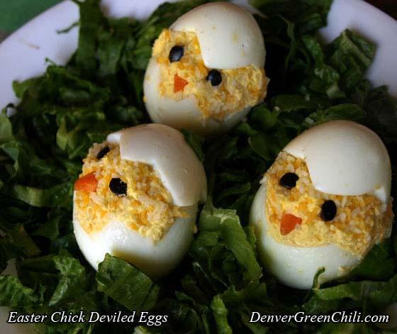 Easter Chick Deviled Eggs - Denver Green Chili