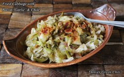 Fried Cabbage with Bacon, Onion, Garlic, and Chiles