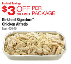 Chicken Alfredo at Costo $3 off