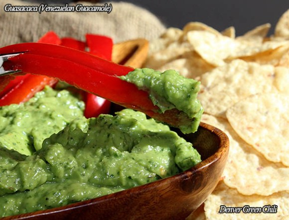 Guasacaca Venezuelan Guacamole - a distinctive variation on guacamole with a robust, spicy fresh vegetable taste, perfect texture for dipping, and a luscious bright green color.