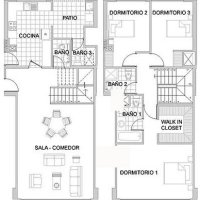 Duplex de 3 habitaciones uno