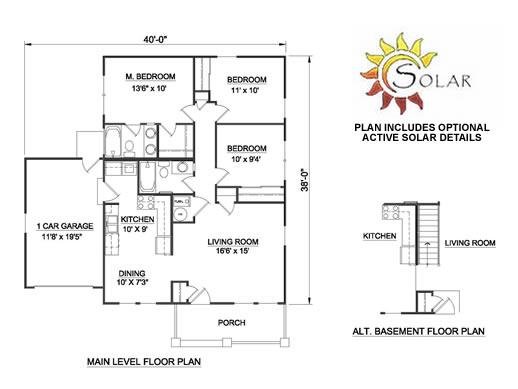 plano casa de un piso tres habitaciones y dos baños