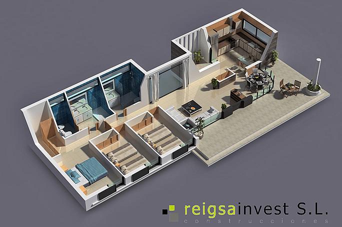 Casa de 3 habitaciones en 3D