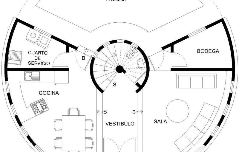Casa circular de 4 dormitorios
