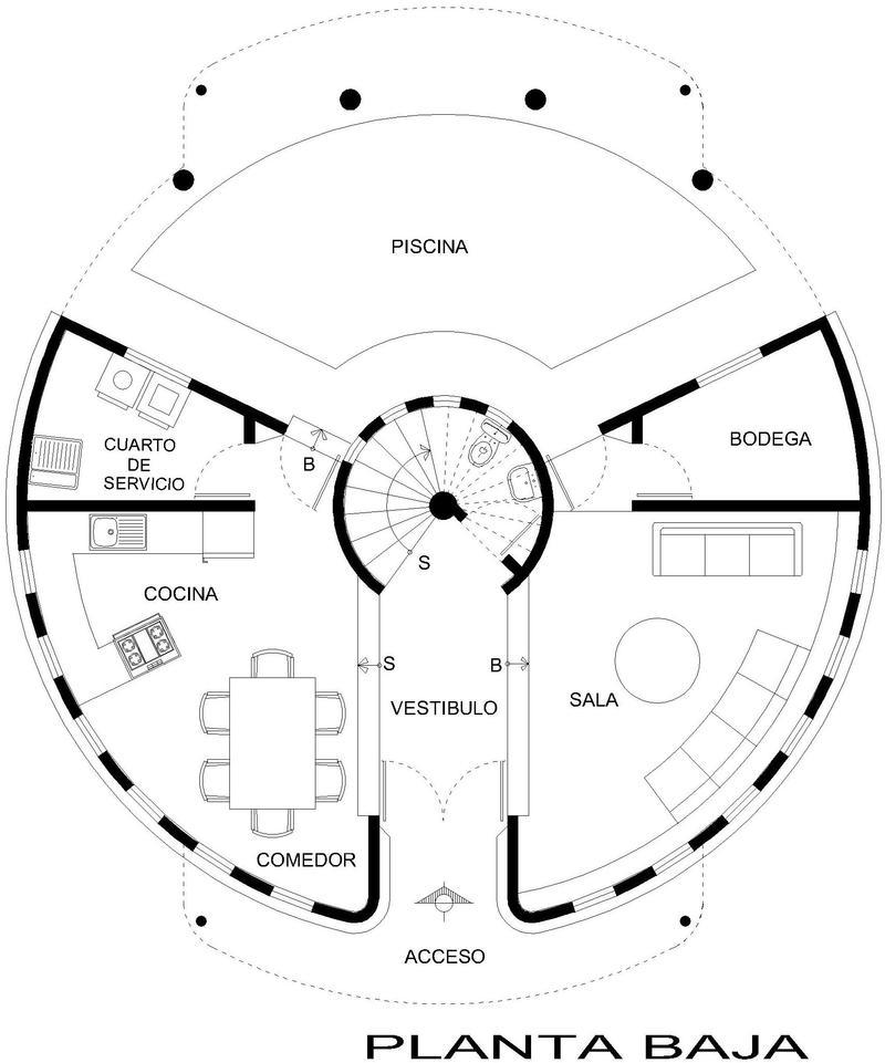 Plano planta baja casa circular