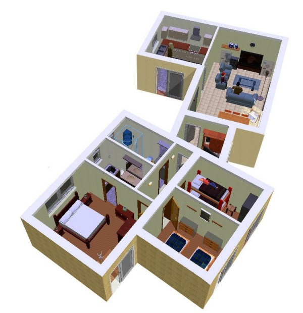 Casa de 3 dormitorios y 90 metros cuadrados planos de for Hacer planos de habitaciones