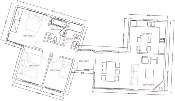 Casa de 3 dormitorios y 90 metros cuadrados planos de for Planos de casas 90m2