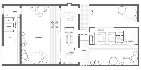 Casa para esquina de tres dormitorios y 230 metros for Planos de casas con piscina y jardin