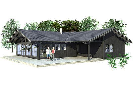 Casa en 3D de tres dormitorios y un piso