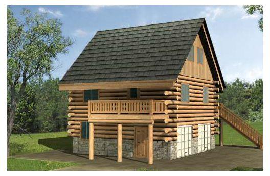 Cabaña de troncos de tres pisos y 103 metros cuadrados