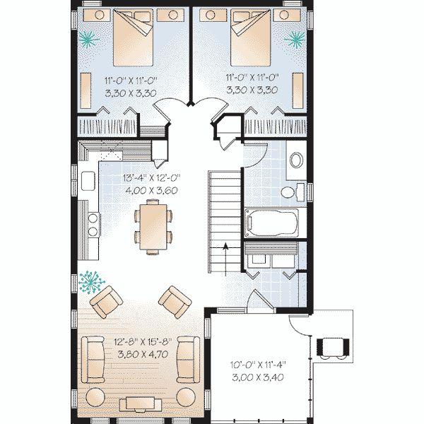 bonita casa cuadrada de dos plantas dos dormitorios y 100