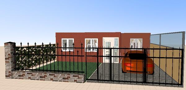 Frente de la casa sin el techo