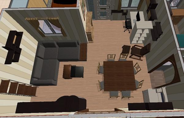 Vista en 3 dimensiones de la sala de estar, el comedor y la zona de trabajo
